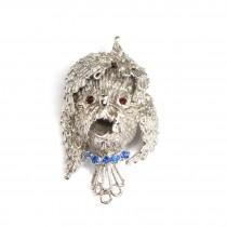 Haioasă broșă din argint rodiat | Poodle | manufactură de atelier italian