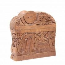 Inedită casetă indiană pentru țigarete - sculptură în lemn de Sheesham