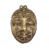 """Veche mască-amuletă tribală Baule - bronz """" cire perdue """" - Coasta de Fildeș"""