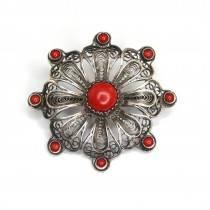 Elegantă broșă filigranată în argint | Floare | argint & coral | Italia cca.1950