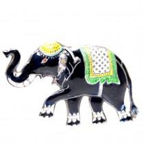 Elegantă broșă thailandeză | Elefant - Surin | argint emailat - cca.1960