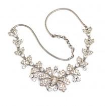 "Spectaculos colier Art Deco | "" Diamond Riviere "" | argint & diamante faux | Franța"