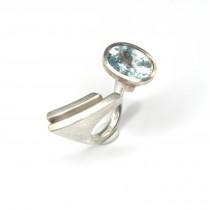 Spectaculos inel futurist | argint & acvamarin | Statele Unite