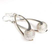 Eleganți cercei contemporary | argint polișat & argint sablat | Italia