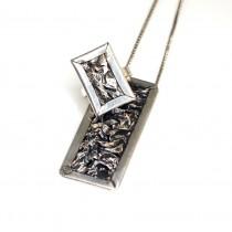 Set: inel și colier statement | Mid-Century Brutalism | manufactură în argint - Statele Unite