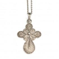 Colier religios cu pandant cruce bizantină | argint filigranat | Grecia