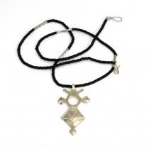 Rafinat colier tribal tuareg cu amuletă Tachmert | argint & onix | Niger