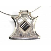Choker tuareg cu impresionantă amuletă Tcherot | argint & abanos | unicat - Niger