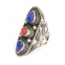 Vechi inel etnic indian | argint, lapis lazuli & coral natural | manufactură în argint | Rajasthan
