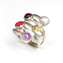 Rafinat inel din argint cu pietre naturale   Thailanda