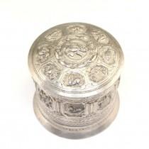 Veche casetă pentru betel | Zodiac Mahabote | argint |  Myanmar