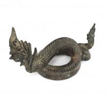 RAR : Veche statuetă budistă | Dragon burmez - Phaya Naga | bronz - Myanmar
