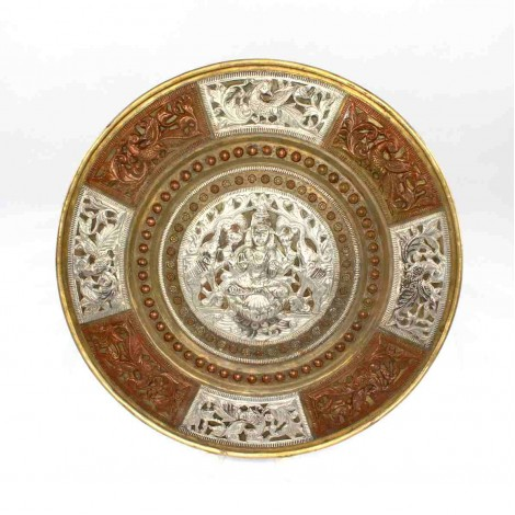 Vechi platou decorativ burmez | Avalokitesvara Bodhisattva | argint, cupru & alamă
