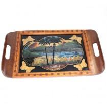 Exotică tavă Art Deco | Rio de Janeiro | pictură & mozaic cu fluturi | Brazilia