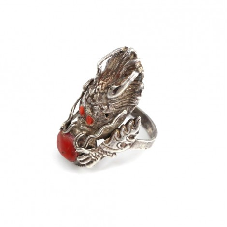 Vechi inel nobiliar chinezesc | Dragon Imperial | argint & coral antic | cca. 1900