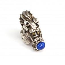 Vechi inel chinezesc | Dragonul de Azur | argint & lapis lazuli