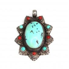 Impresionantă amuletă tibetană | Padma | argint, turcoaze & coral | Nepal