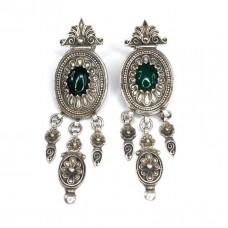 Opulenți cercei etnici indieni | argint & agat verde | Rajasthan