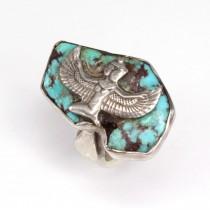 Vechi inel cu turcoaz antic persan | Isis | manufactură în argint | Egipt cca.1920