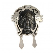 "Impresionanta brosa-pandant "" Aztec Warrior "" | argint & obsidian Gold Sheen | Mexic"