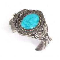 Remarcabila brățară tribala amerindiana | Navajo | argint & turcoaz Kingman | atelier Thomas Nez