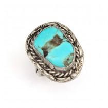 Vechi inel tribal amerindian  | argint & turcoaz Kingman | Statele Unite