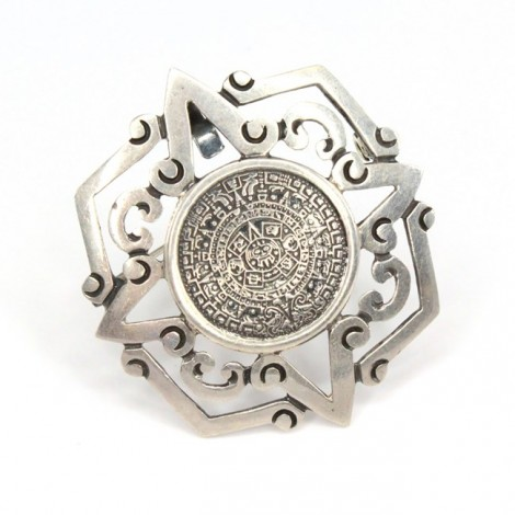 Lavalieră-pandant statement | Calendar Aztec | argint | Taxco-Mexico