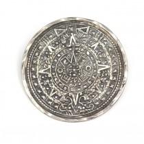 "Veche broșă-pandant ""Calendar Aztec "" manufactura in argint | Mexic cca.1950"