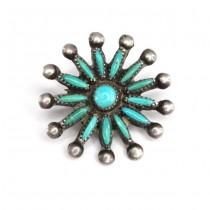 Delicată broșă amerindiană , pentru lavaliera | argint & turcoaze naturale | Statele Unite