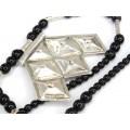 Colier tuareg cu amuletă Khomeissa - Hamsa   argint & onix negru   Niger