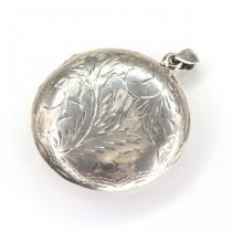 Opulent pandant locket în stil victorian | argint gravat manual | Marea Britanie