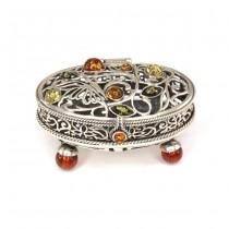 Rafinată casetă pentru bijuterii si suveniruri | argint & chihlimbar | Polonia