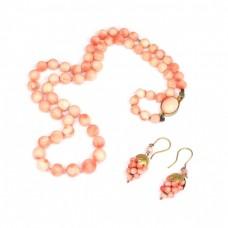 Set de bijuterii cu anturaje de coral natural Peau D'ange | Italia anii '70