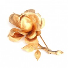 "Elegantă broșă "" Wild Rose "" | oţel placat cu aur roz | Marea Briatnie anii '70"