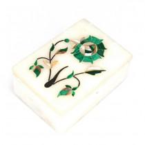 Inedită casetă mexicană , pentru bijuterii | Piedra Dura Intaglio | marmură, sidef & malahit