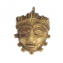 Veche amuletă pectorală | Masca Ashanti | aliaj bronz | Ghana