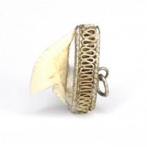 RAR : Veche amuletă indiană cu dinte de rechin-tigru | montură în argint | cca.1880