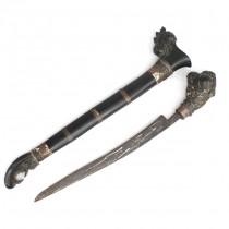 F. RAR : Vechi pumnal Sewar | oțel damascus-wootz & rădăcină de Bahar | Sumatra - Indonezia