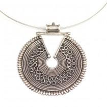 Colier choker cu opulentă amuletă Mandala | argint |  Rajasthan - India