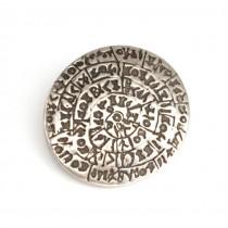 Inedită broșă-lavalieră de inspirație minoică | Discul lui Phaistos | argint patinat | Grecia