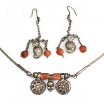 Vechi set bijuterii tribale Banjara | argint & coral natural | India cca.1900