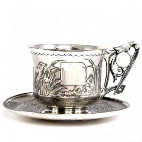 Impresionantă garnitură solitaire, Japonism - Art Nouveau, pentru servirea ceaiului | metal argintat | Franța. cca.1890