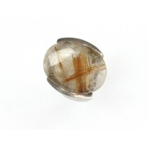 Spectaculos inel statement futurist | argint & cuarț rutilat | Franța anii '70