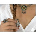 Impresionant inel tribal Kabyle | argint emailat & coral | Algeria