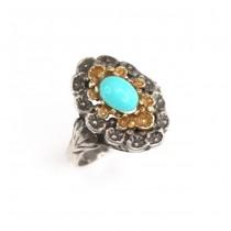 Rafinat inel cu turcoaz persan | manufactură în argint | India