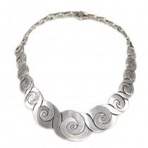 Impresionant colier modernist mexican | argint | manufactura de atelier Taxco | anii '80