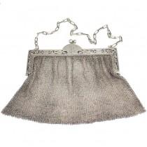 Poșetă chatelaine de perioadă Belle Epoque | manufactură în argint | Franța cca.1900