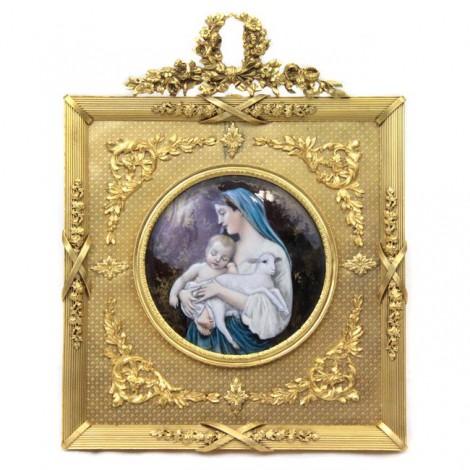 Pictură neoclasică de atelier Limoges | L'innocence | după A. Bouguereau | cca.1900
