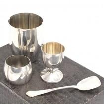 Set din argint pentru copii | pahar mare, pahar mic, linguriță și inel pentru napron | Belgia, perioada coloniala Congo cca.1930