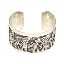 Remarcabilă brățară mexicană Azteca | argint |  atelier Los Ballesteros anii '40